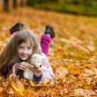 Cute little girl lie on the autumn leaves — Stock Photo #50268195
