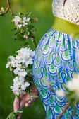 Pregnant  belly with blossom branch — Stock Photo
