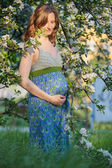 Pregnant woman with blossom branch — Stock fotografie