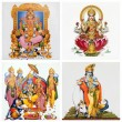 Set of antique tiles with images of hindu gods — Stock Photo