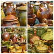 Rustic pottery on market - Stock Photo