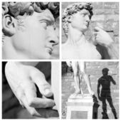 Collage with images of sculpture of David by Michelangelo — Stock Photo