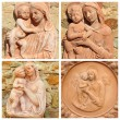 Stock Photo: Collage with reliefs with Madonnand child