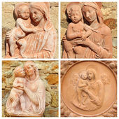 Collage with reliefs with Madonna and child — Stock Photo