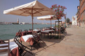 Restaurante na ilha de giudecca, com maravilhosa vista de veneza — Foto Stock
