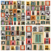 Collage of many old windows — Stock Photo