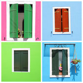 Multicolor retro windows with shutters — Stock Photo