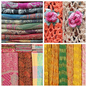Collage with shawls — Stock Photo