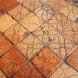 Antique floor with floral pattern, Tuscany, Italy, Europe - Stock Photo