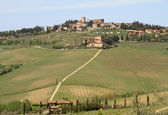 Beautiful tuscan village on hill — Stockfoto