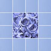 青いバラや手漉き紙カード — ストック写真