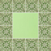 Elegancki zieloną ramką kwiatowy — Zdjęcie stockowe