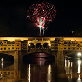 Fireworks in shape of hearts in Italy — Stock Photo