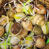 Samling av påskägg hänga — Stockfoto