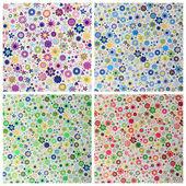 Papel con patrón de flores y corazones pequeño — Foto de Stock