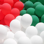 Red, green and white balloons — Stock Photo