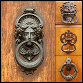 Collage with retro door knockers — Stock Photo