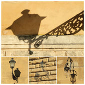 Antique street lamps collage — Stock Photo