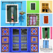 Collage with colorful rustic windows — Stock Photo