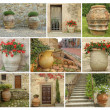 Collage with old style garden pottery — Foto Stock