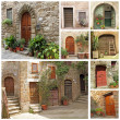 Collage with rustic italian doors - Foto Stock