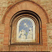 Saint Peter, detail of mosaic from facade of the Romanian Patr — Stock Photo