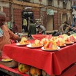 MUMBAI, INDIA-NOV.22:Vendor  sells fruit salad in a street on No - Stock Photo