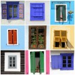 Abstract wall with images of rustic windows — Stock Photo