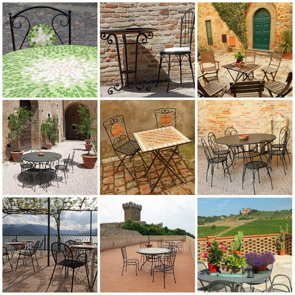 mobiliario de jardim em leiria:Coleção de mobiliário de jardim em terraços italianos, Itália