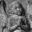Antique angelic bas-relief, Monumental Cemetery Porte Sante in F — Stock Photo