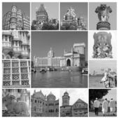 Collage with landmarks of indian city Mumbai (formerly Bombay ), — Stok fotoğraf