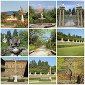 Collage with images of Boboli Garden and Pitti Palace in Floren — Stock Photo
