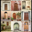 Foto Stock: Vintage door wallpaper, Italy