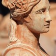 Classic terracotta sculpture with female profile, Tuscany , Ita — Stock Photo
