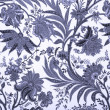 Floral blue damask background - Stock Photo