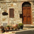 Entrance  to the tuscan villa with many flowerpots on the street - 图库照片