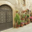 Wrought iron gate and many flowers in tuscan village Pitigliano, - Stock Photo