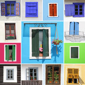Colorful country windows collection, Europe — Stock Photo