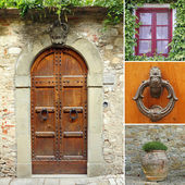 Front door collage, Tuscany, Italy, Europe — Stock Photo