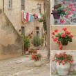 Italian style backyard collage, Populonia,Tuscany, Europe — Stock Photo