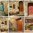Postcard with rustic tuscan doors, Italy — Stock Photo