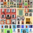 Stock Photo: Abstract wall with many colorful old windows with shutters, Ital