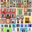 Abstract wall with many colorful old windows with shutters, Ital — Stock Photo
