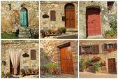 Ansichtkaart met rustieke toscaanse deuren, italië — Stockfoto