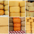 Collage with cheese, images from farmer market, Italy — Stock Photo #25038591