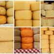 Collage with cheese, images from farmer market, Italy — Stock Photo
