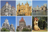 Collage with landmarks of Mumbai city ( formerly Bombay) , Indi — Stock fotografie