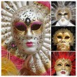 Venetian carnival masks poster, Venice, Italy, Europe — Stock Photo