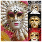 Venetian carnival masks poster, Venice, Italy, Europe — Stock Photo
