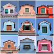 Antique colorful roof windows collection, Burano,Venice, Veneto, - Stock Photo
